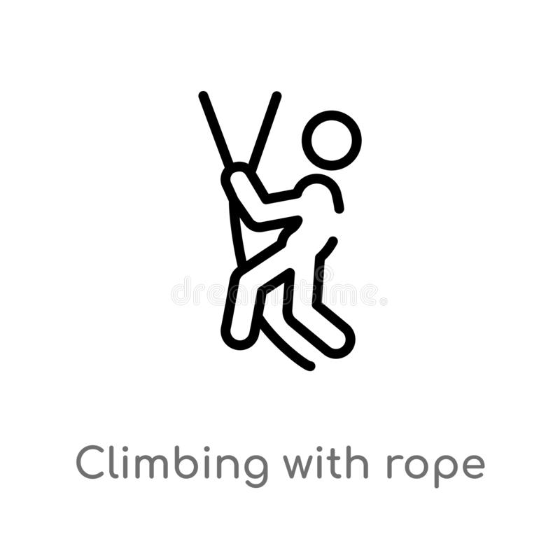 outline climbing with rope vector icon. isolated black simple line element illustration from sports concept. editable vector vector illustration