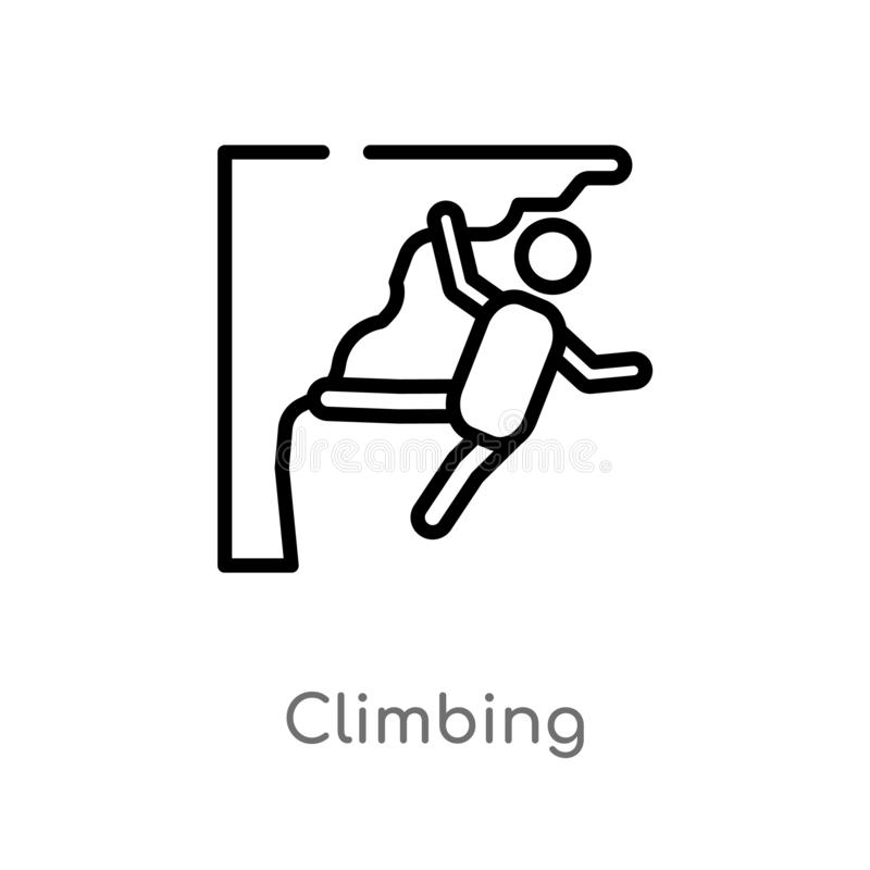 outline climbing vector icon. isolated black simple line element illustration from free time concept. editable vector stroke stock illustration