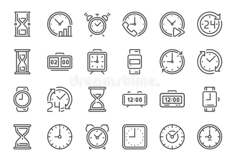 Outline clock icons. Line time, 24 hours clocks and hourglass icon vector set royalty free illustration