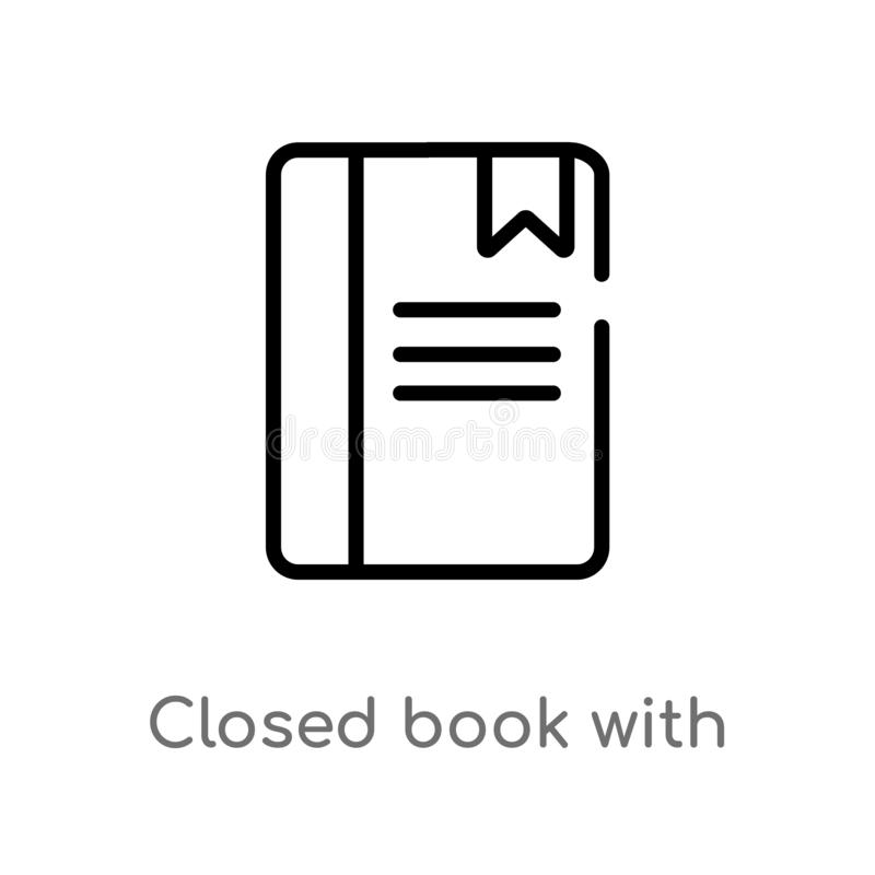 Outline closed book with marker vector icon. isolated black simple line element illustration from education concept. editable. Vector stroke closed book with stock illustration