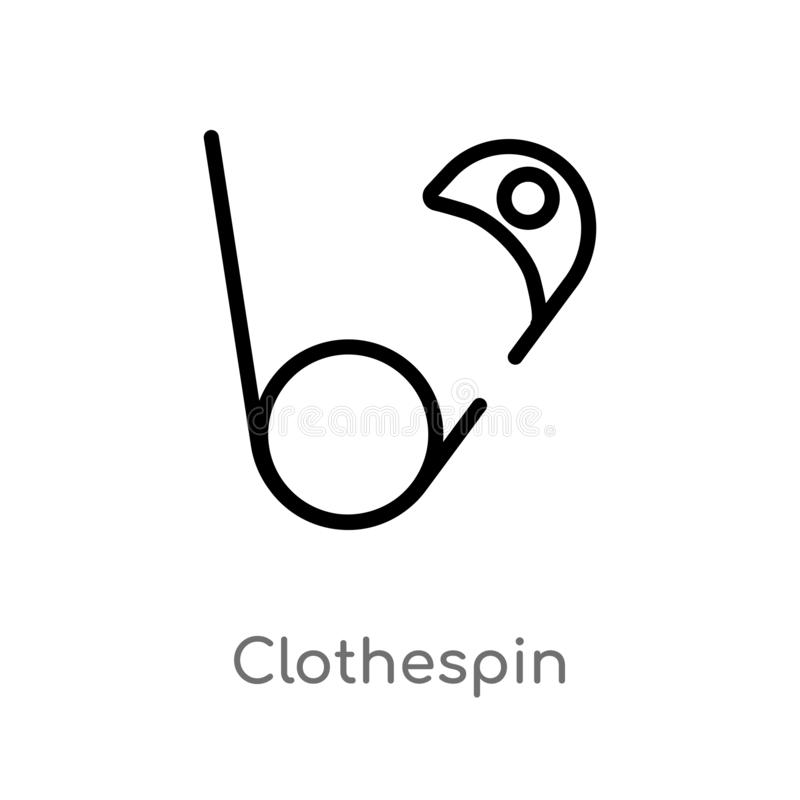 outline clothespin vector icon. isolated black simple line element illustration from sew concept. editable vector stroke royalty free illustration