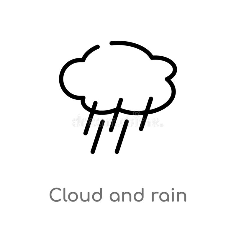 Outline cloud and rain vector icon. isolated black simple line element illustration from weather concept. editable vector stroke. Cloud and rain icon on white vector illustration