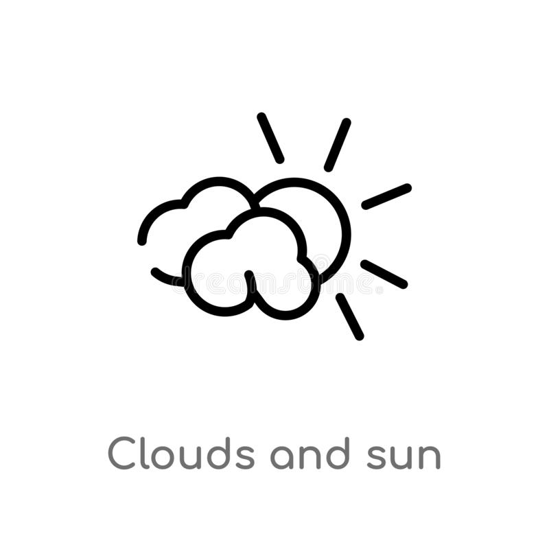 outline clouds and sun vector icon. isolated black simple line element illustration from weather concept. editable vector stroke royalty free illustration