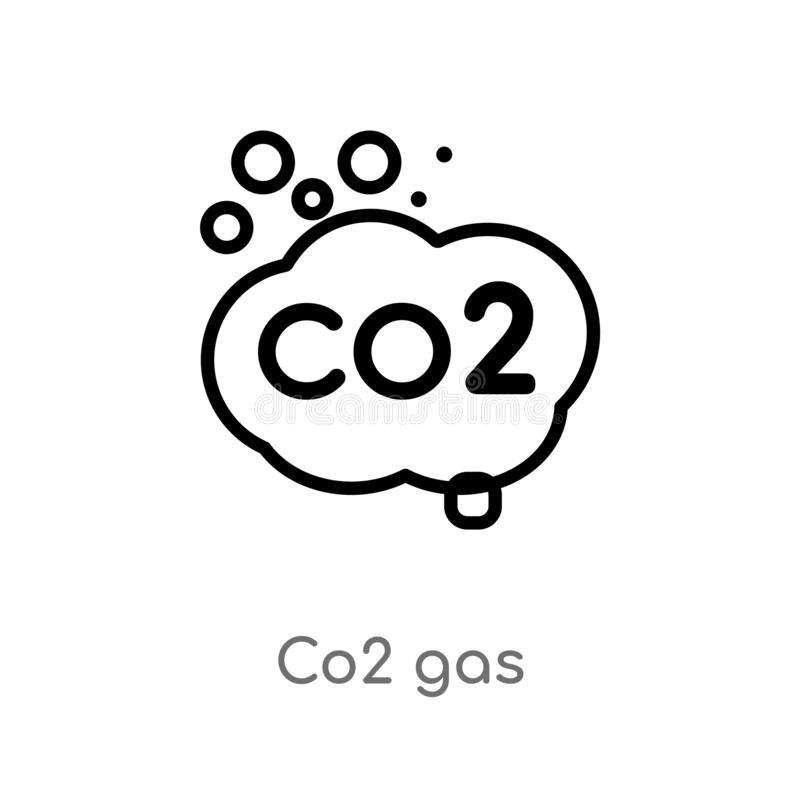 Outline co2 gas vector icon. isolated black simple line element illustration from meteorology concept. editable vector stroke co2. Gas icon on white background royalty free illustration