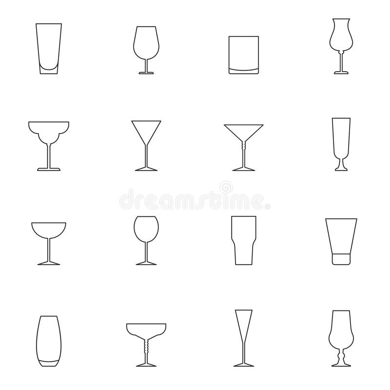 Outline cocktail glass icon set isolated on white background vector illustration