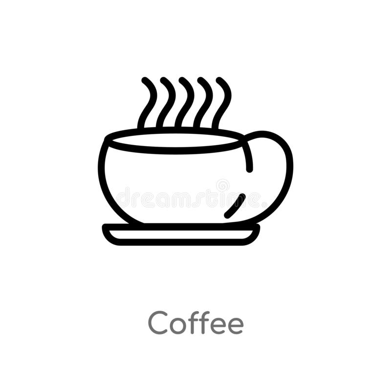 Coffee Shop Retro Logo Collection Concept:  Coffee Shop Outline Icon. Isolated Line Vector