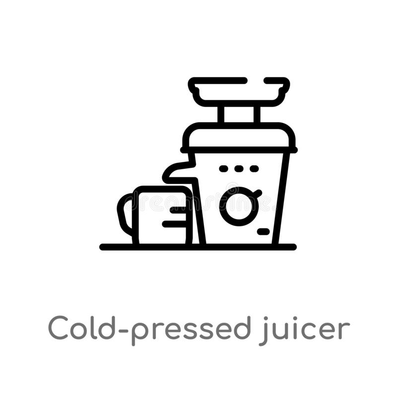 Outline cold-pressed juicer vector icon. isolated black simple line element illustration from electronic devices concept. editable. Vector stroke cold-pressed vector illustration