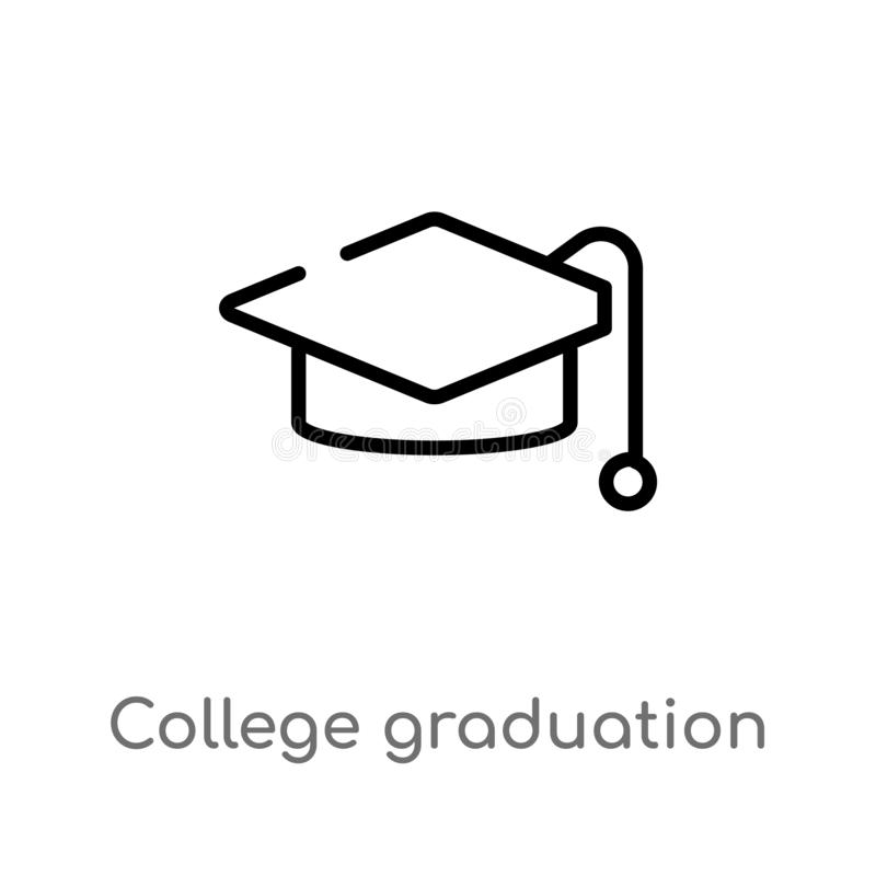 Outline College Vector Icon  Isolated Black Simple Line Element