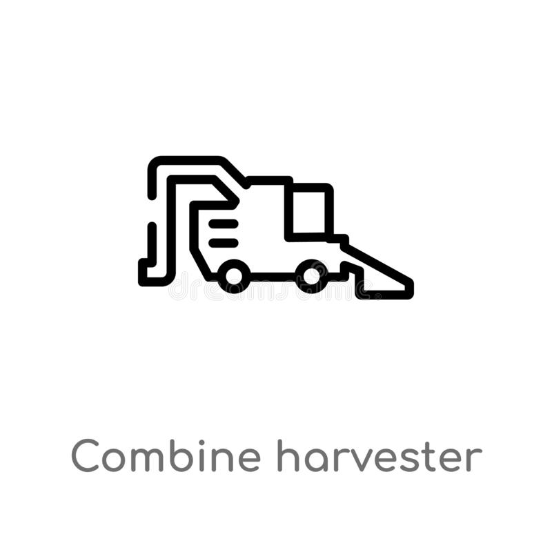 outline combine harvester vector icon. isolated black simple line element illustration from agriculture farming concept. editable vector illustration