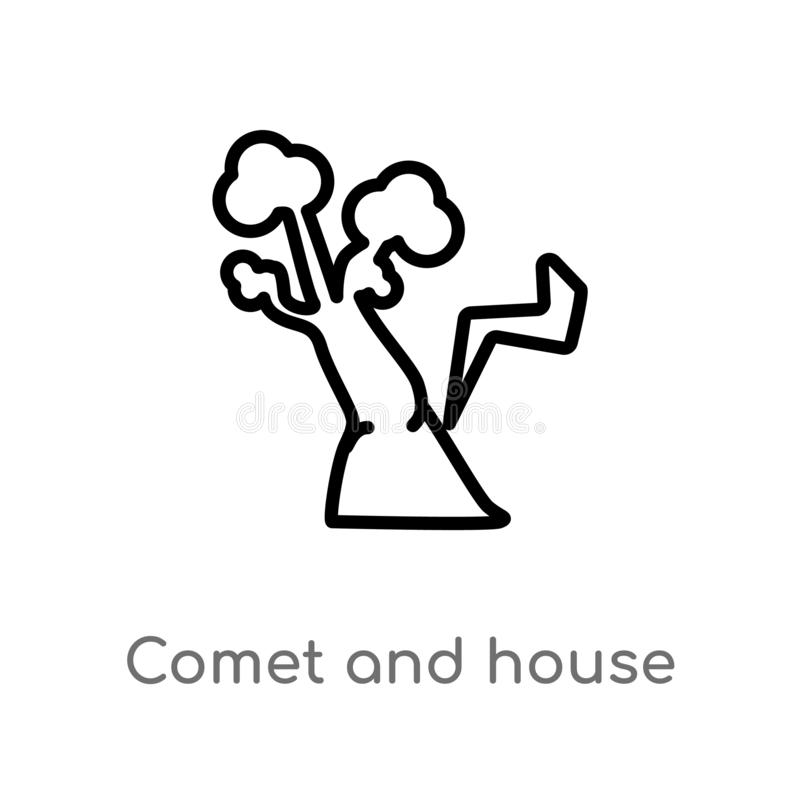 Outline comet and house vector icon. isolated black simple line element illustration from meteorology concept. editable vector. Stroke comet and house icon on royalty free illustration