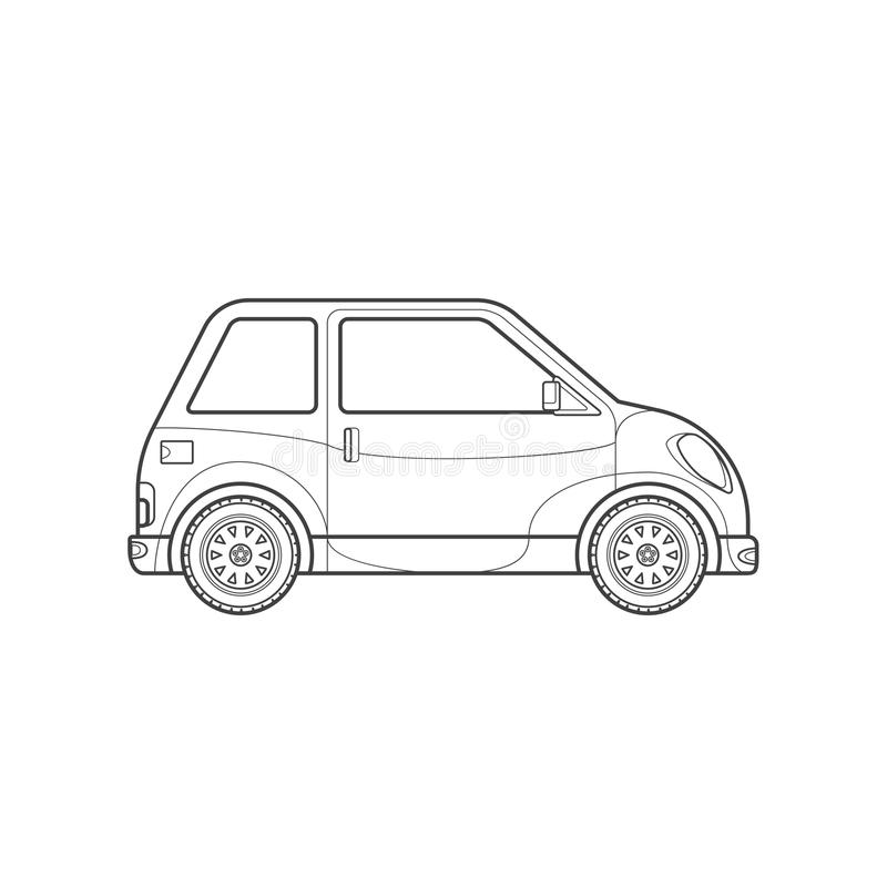 Outline Compact City Car Body Style Illustration Icon