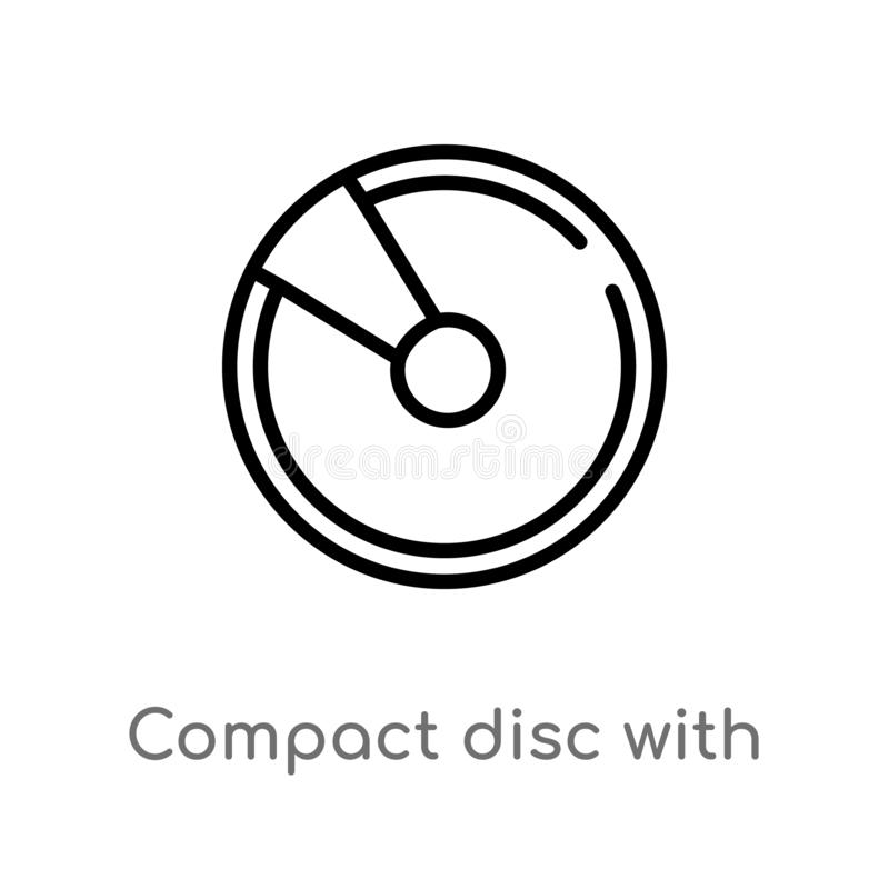 outline compact disc with glare vector icon. isolated black simple line element illustration from multimedia concept. editable vector illustration