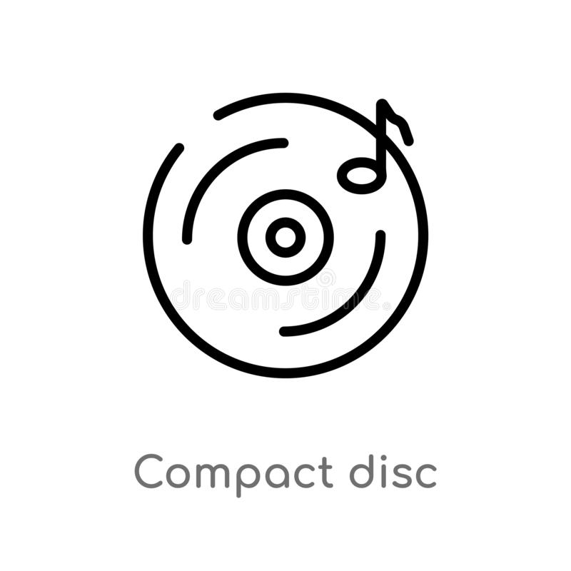 outline compact disc vector icon. isolated black simple line element illustration from electronic stuff fill concept. editable stock illustration