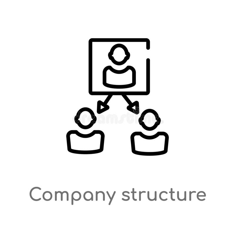 Outline company structure vector icon. isolated black simple line element illustration from human resources concept. editable. Vector stroke company structure stock illustration