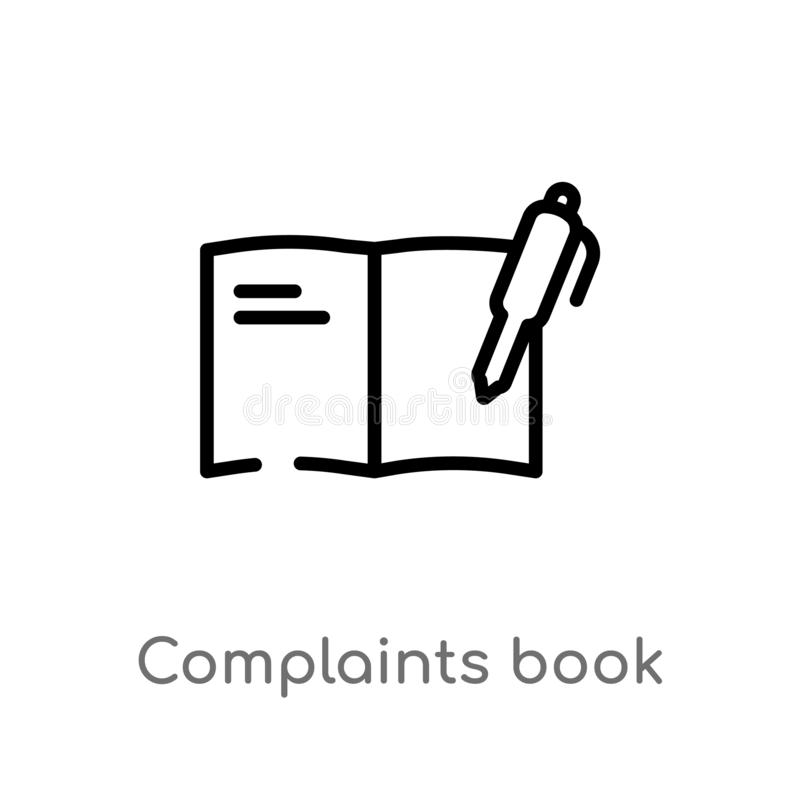 Outline complaints book vector icon. isolated black simple line element illustration from communications concept. editable vector. Stroke complaints book icon vector illustration