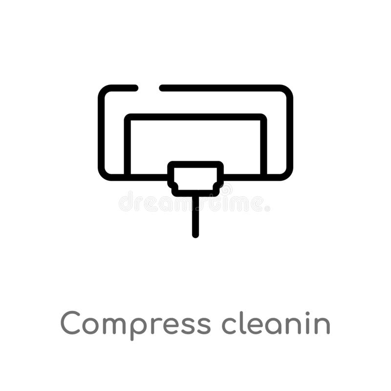 Outline compress cleanin vector icon. isolated black simple line element illustration from cleaning concept. editable vector. Stroke compress cleanin icon on vector illustration