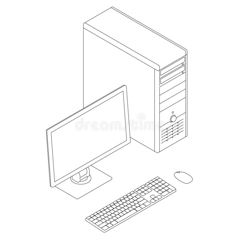Outline of the computer with a monitor, keyboard and mouse. Isometric view. Vector illustration vector illustration
