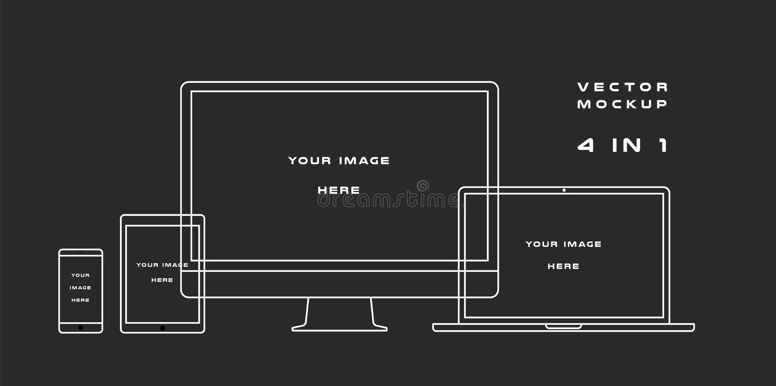 Outline computer monitor, laptop, tablet, smartphone isolated on black background. Can use for template presentation royalty free illustration