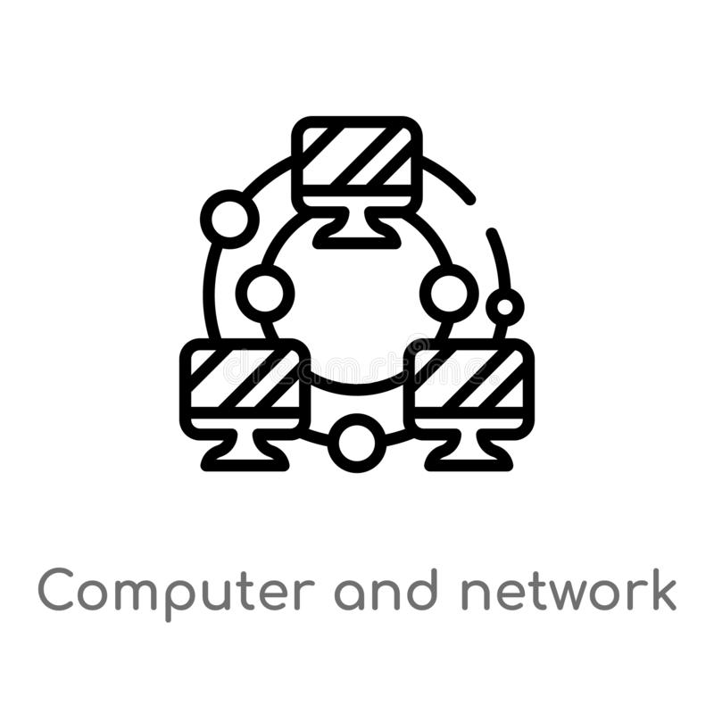 outline computer and network vector icon. isolated black simple line element illustration from education concept. editable vector stock illustration