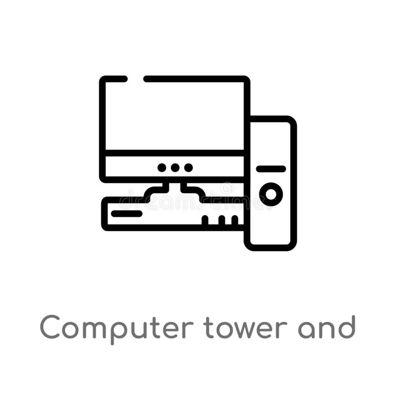 Outline computer tower and the monitor vector icon. isolated black simple line element illustration from computer concept. Editable vector stroke computer stock illustration