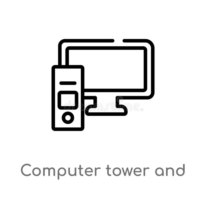 Outline computer tower and monitor vector icon. isolated black simple line element illustration from computer concept. editable. Vector stroke computer tower vector illustration