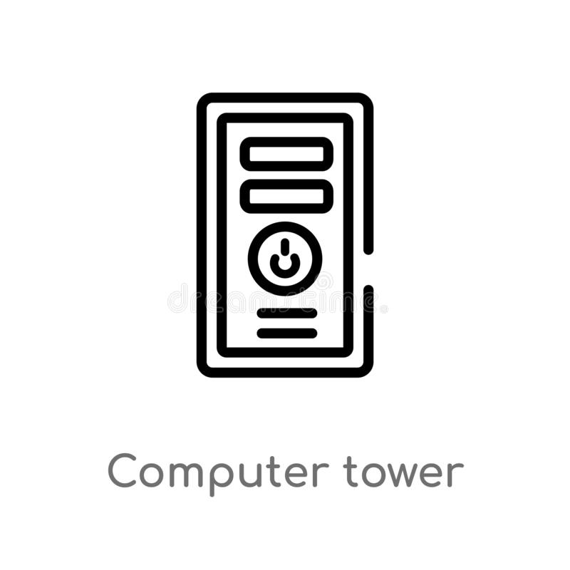 Outline computer tower vector icon. isolated black simple line element illustration from electronic stuff fill concept. editable. Vector stroke computer tower vector illustration