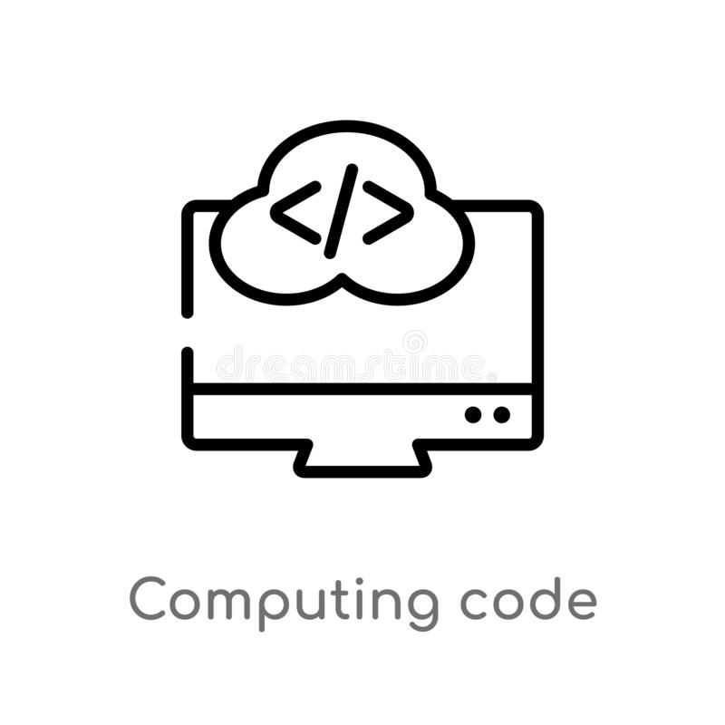 outline computing code vector icon. isolated black simple line element illustration from computer concept. editable vector stroke royalty free illustration