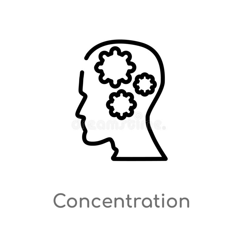 Outline concentration vector icon. isolated black simple line element illustration from brain process concept. editable vector. Stroke concentration icon on royalty free illustration