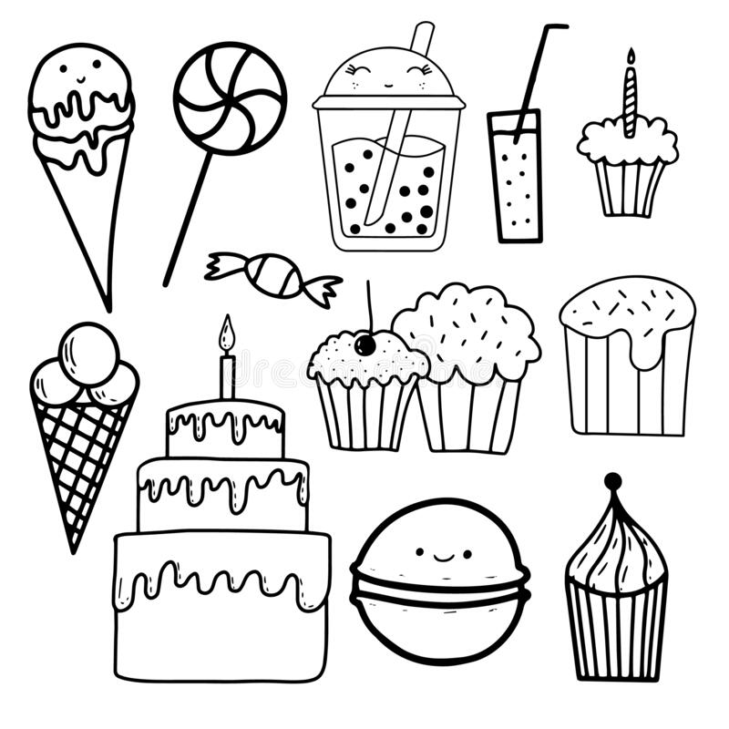 Outline confection set, great design for any purposes. Vintage food sketch set. Line texture background. Icon collection. Dark background isolated. Doodle royalty free illustration