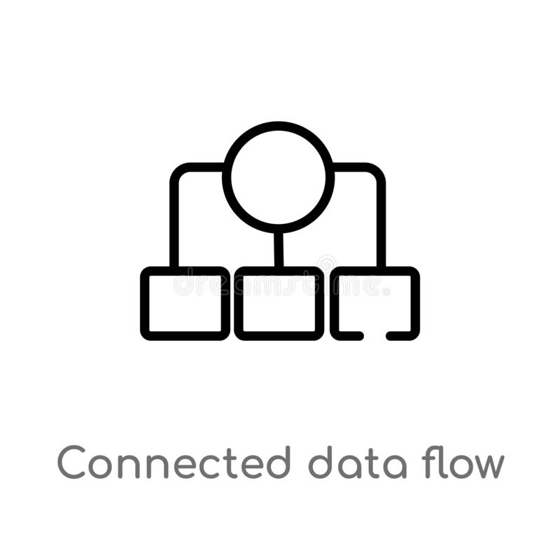 Outline connected data flow chart vector icon. isolated black simple line element illustration from user interface concept. Editable vector stroke connected royalty free illustration