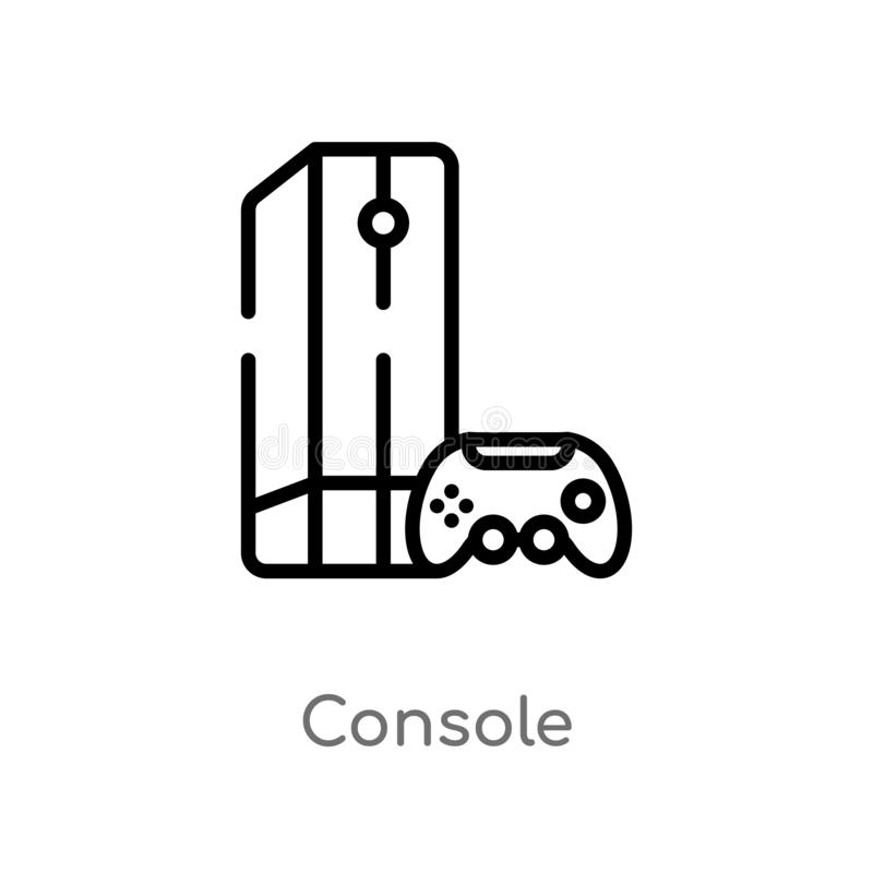 Outline console vector icon. isolated black simple line element illustration from electronic devices concept. editable vector. Stroke console icon on white stock illustration
