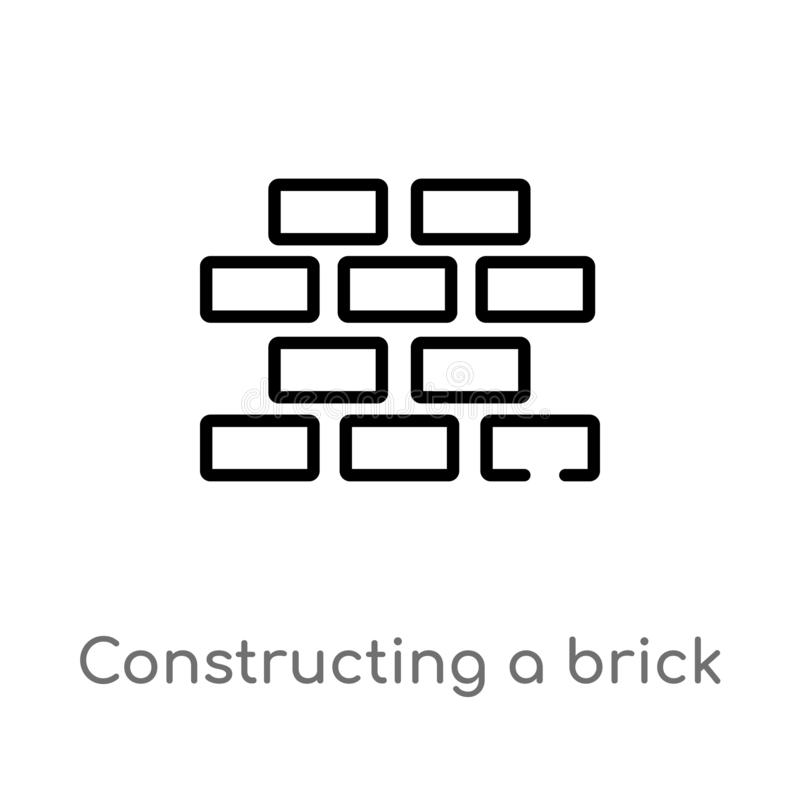 Outline constructing a brick wall vector icon. isolated black simple line element illustration from construction concept. editable. Vector stroke constructing a vector illustration