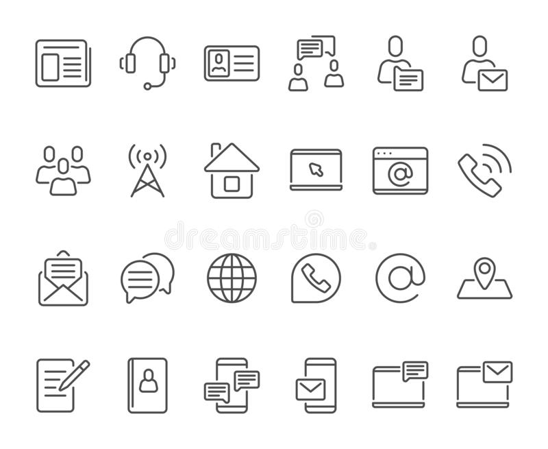 Outline contacts icons. Mobile phone contact icon, mailbox new email and line telephone address book vector set vector illustration