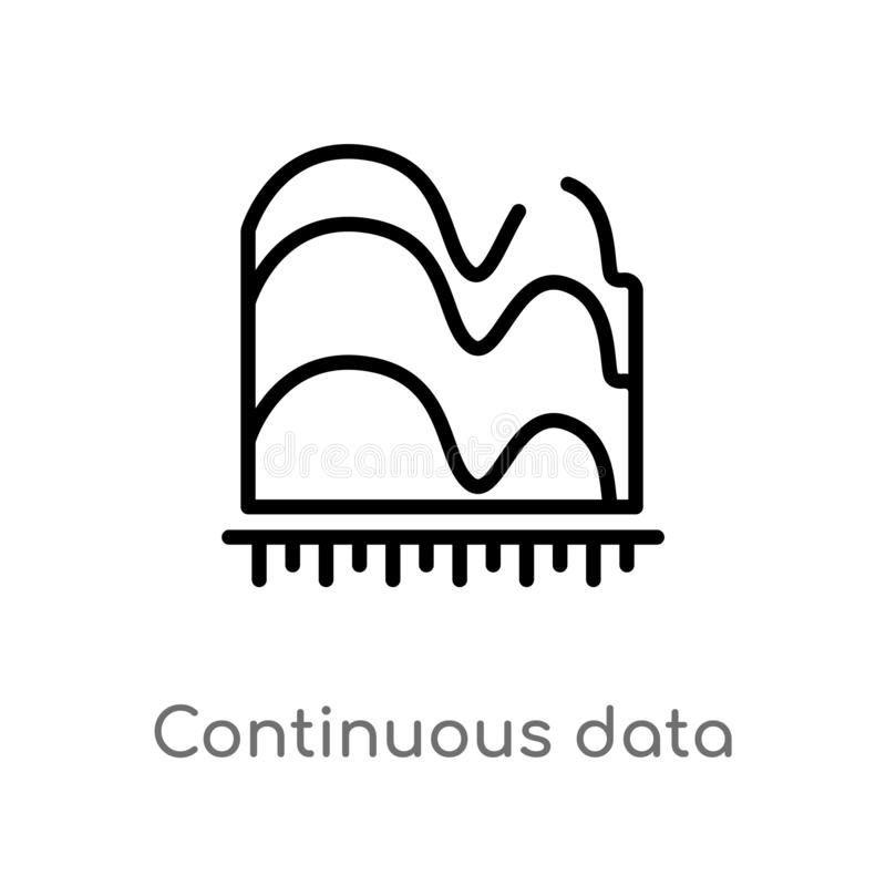 Outline continuous data graphic wave chart vector icon. isolated black simple line element illustration from business concept. Editable vector stroke stock illustration