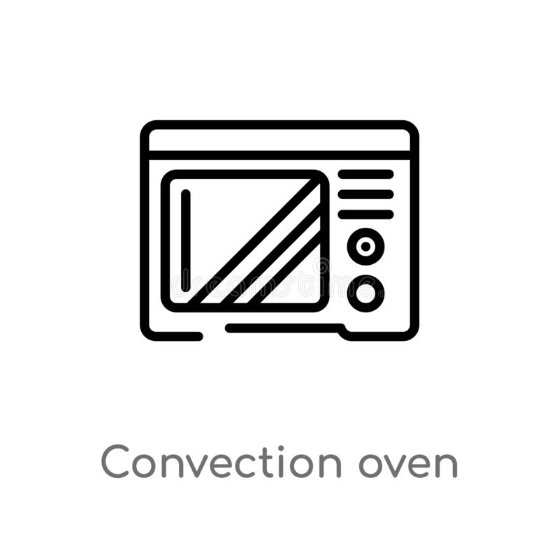 Outline convection oven vector icon. isolated black simple line element illustration from electronic devices concept. editable. Vector stroke convection oven royalty free illustration