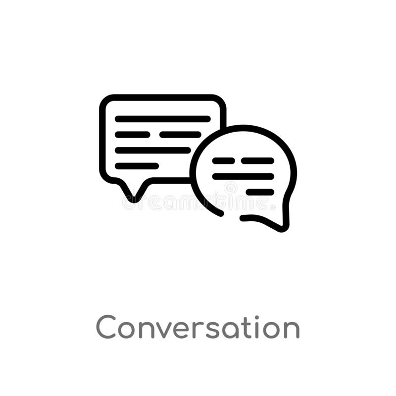 outline conversation vector icon. isolated black simple line element illustration from blogger and influencer concept. editable vector illustration