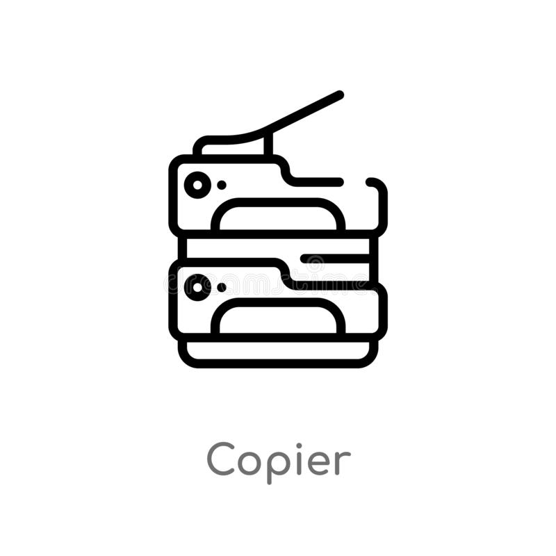 Outline copier vector icon. isolated black simple line element illustration from electronic devices concept. editable vector. Stroke copier icon on white stock illustration