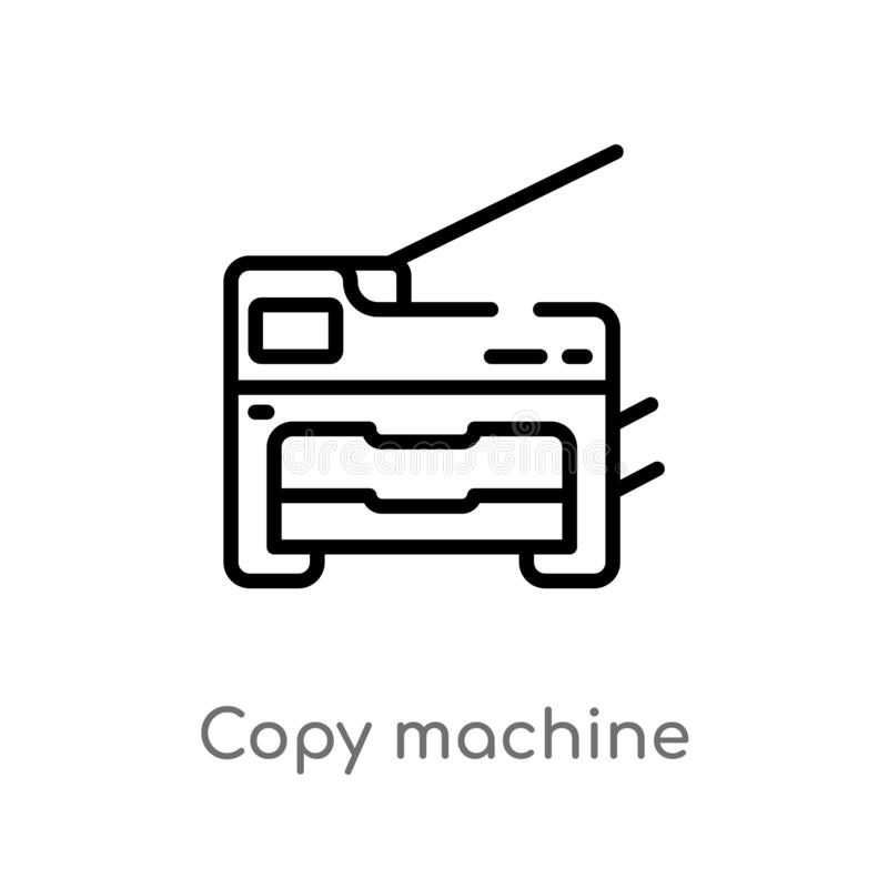 Outline copy machine vector icon. isolated black simple line element illustration from electronic devices concept. editable vector. Stroke copy machine icon on royalty free illustration