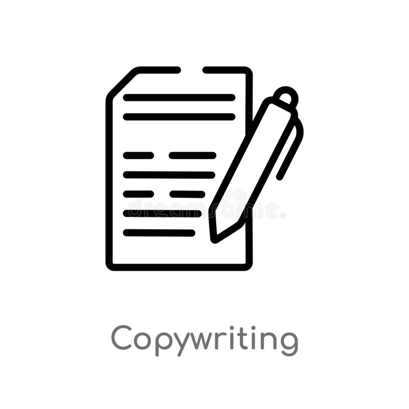 outline copywriting vector icon. isolated black simple line element illustration from general-1 concept. editable vector stroke royalty free illustration