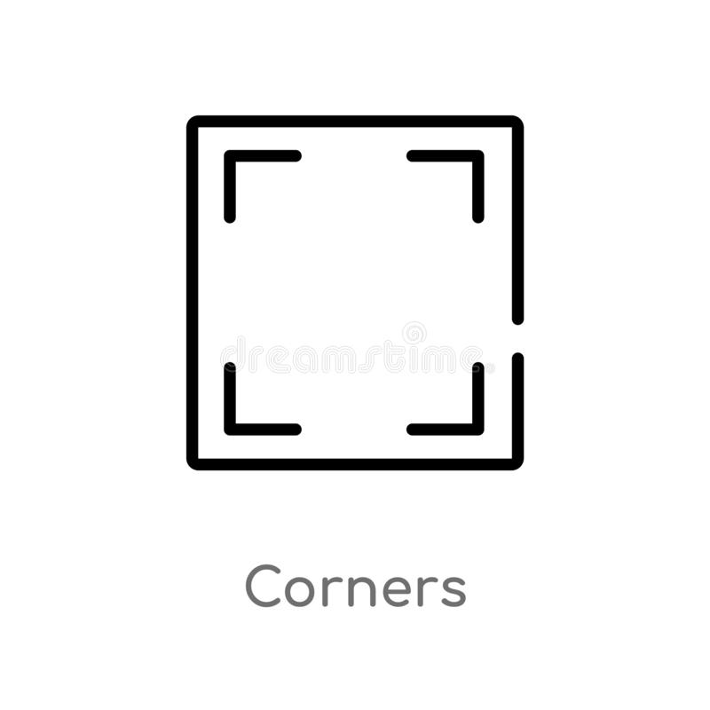 Outline corners vector icon. isolated black simple line element illustration from user interface concept. editable vector stroke. Corners icon on white vector illustration