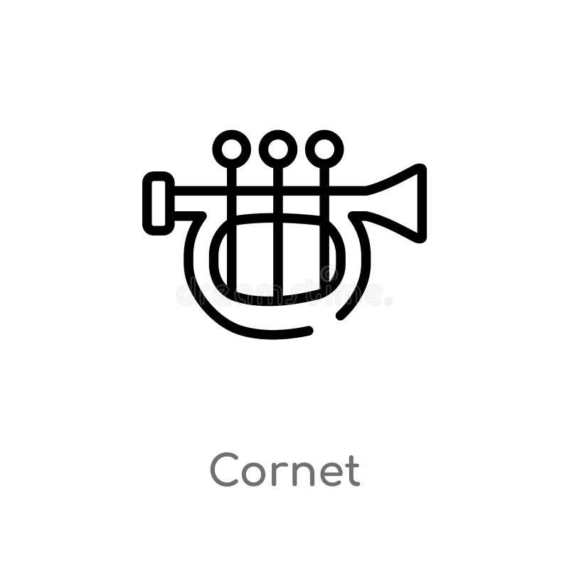 Outline cornet vector icon. isolated black simple line element illustration from music concept. editable vector stroke cornet icon. On white background stock illustration