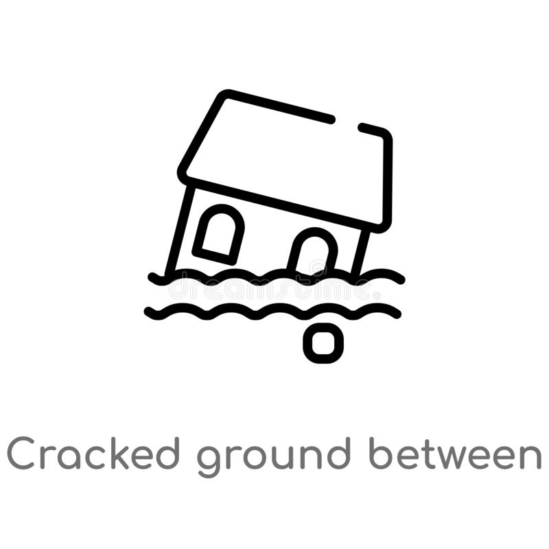 outline cracked ground between houses vector icon. isolated black simple line element illustration from meteorology concept. vector illustration
