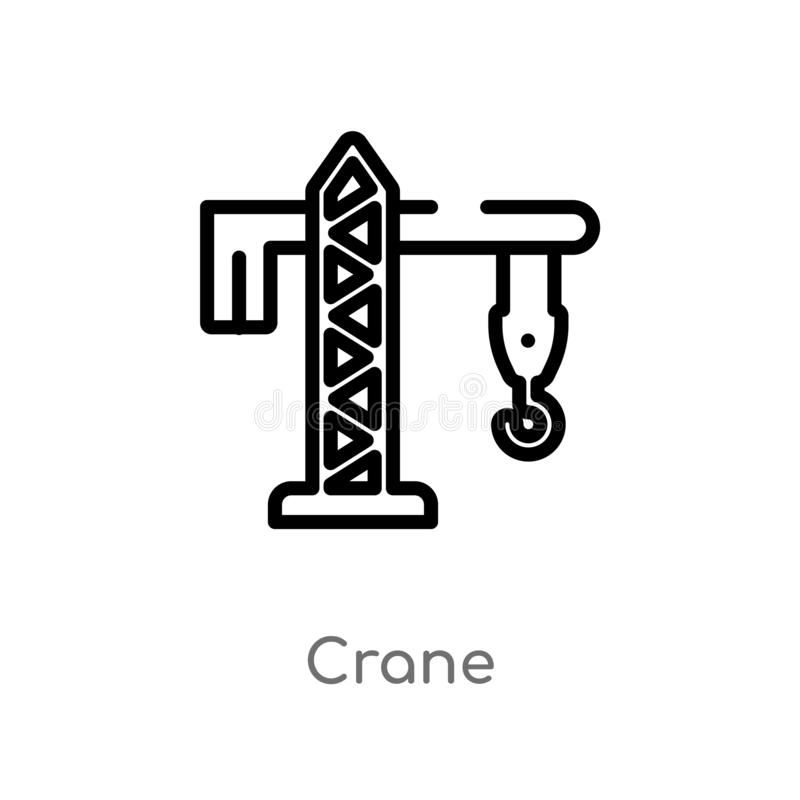 outline crane vector icon. isolated black simple line element illustration from industry concept. editable vector stroke crane royalty free illustration