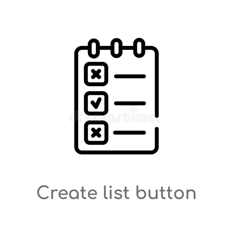 outline create list button vector icon. isolated black simple line element illustration from web concept. editable vector stroke stock illustration