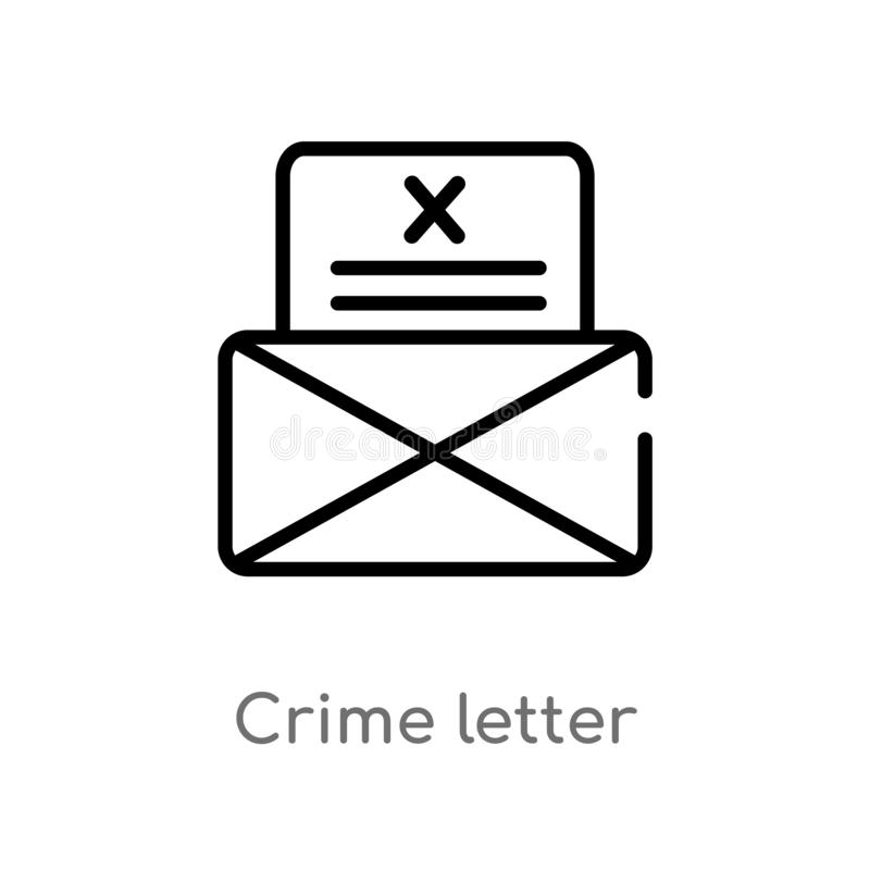 outline crime letter vector icon. isolated black simple line element illustration from law and justice concept. editable vector vector illustration