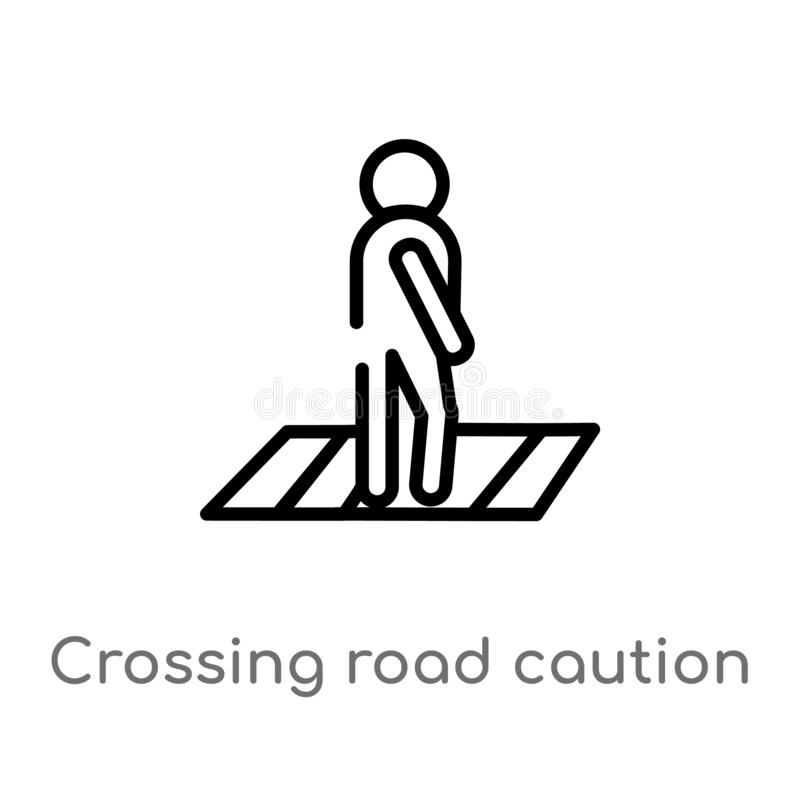 outline crossing road caution vector icon. isolated black simple line element illustration from maps and flags concept. editable royalty free illustration