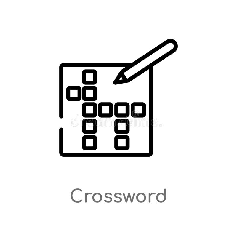 outline crossword vector icon. isolated black simple line element illustration from free time concept. editable vector stroke royalty free illustration