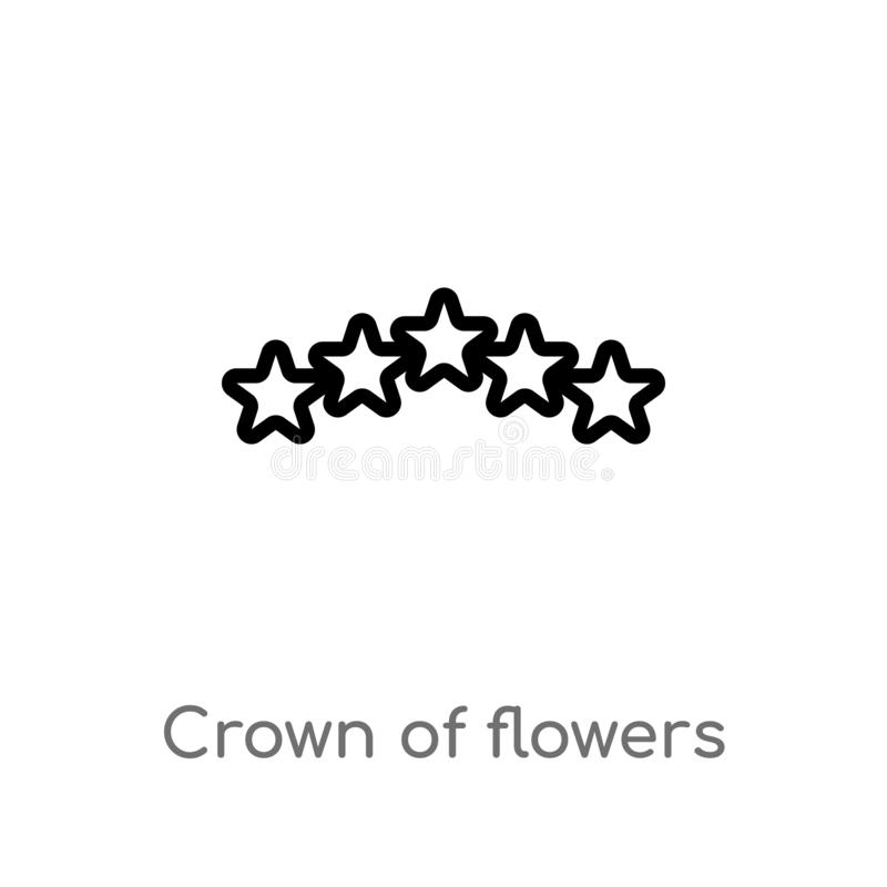 outline crown of flowers vector icon. isolated black simple line element illustration from world peace concept. editable vector vector illustration