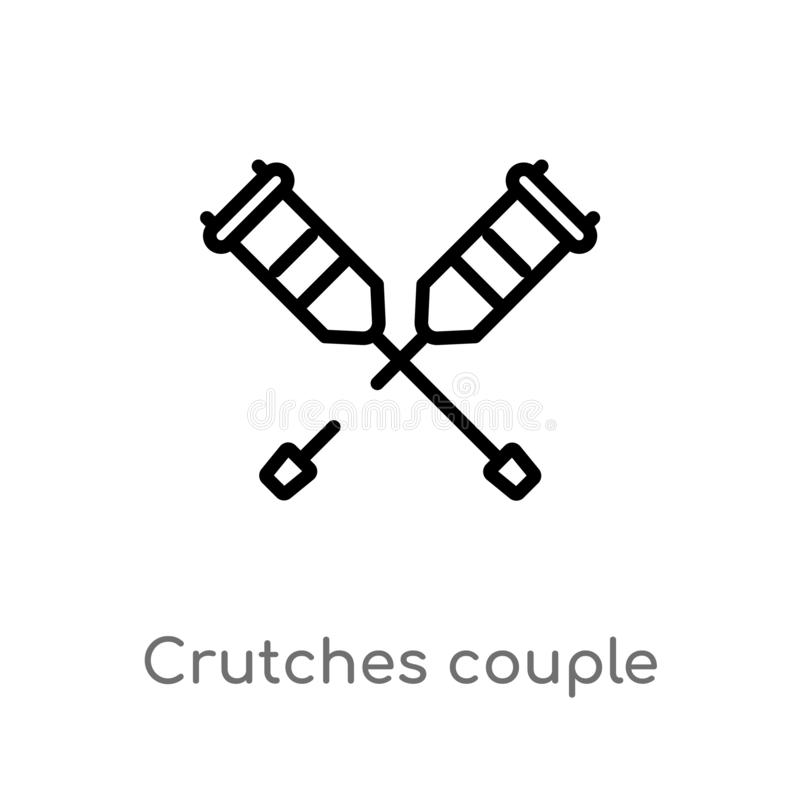 outline crutches couple vector icon. isolated black simple line element illustration from medical concept. editable vector stroke royalty free illustration
