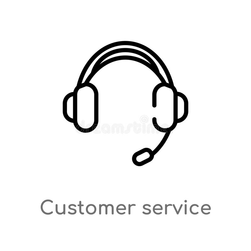 Outline customer service headset vector icon. isolated black simple line element illustration from technology concept. editable. Vector stroke customer service vector illustration